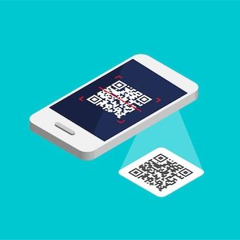 Isometrische smartphone met qr-code op het scherm. verwerk de scancode per telefoon. qr-labelsticker geïsoleerd