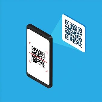 Isometrische smartphone met qr-code op het scherm. verwerk de scancode per telefoon. sticker met qr-label. vector illustratie geïsoleerd
