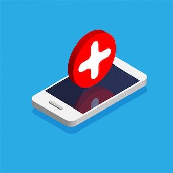 Isometrische smartphone met rode kruis op een display. bel de noodsituatie. arts online concept. illustratie.