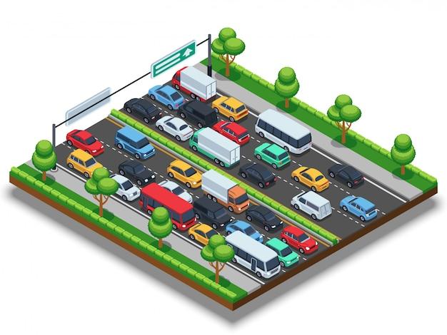 Isometrische snelweg met file. 3d-transport vector concept met auto's en vrachtwagens