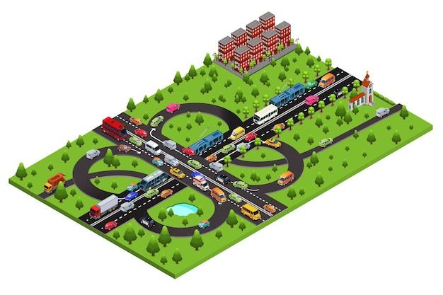 Isometrische snelweg verkeerssjabloon