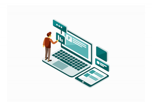 Isometrische social media marketing