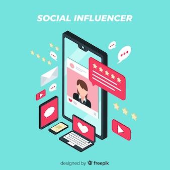 Isometrische sociale influencer achtergrond