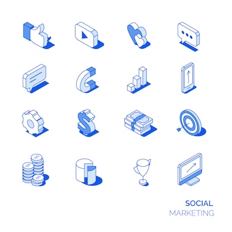 Isometrische sociale marketing pictogrammen