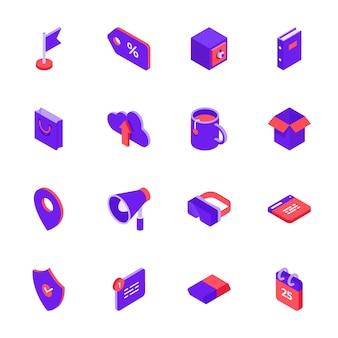 Isometrische sociale media pictogrammen instellen