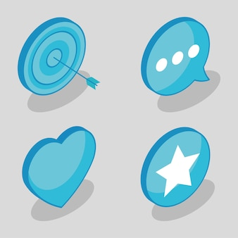 Isometrische sociale media vier pictogrammen