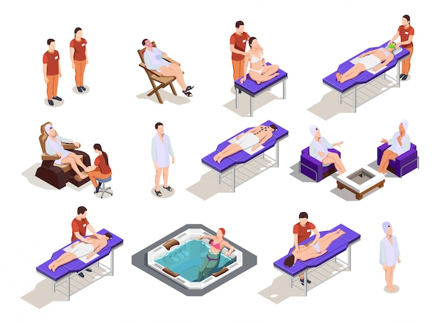 Isometrische spa salon karakterverzameling