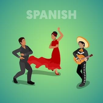 Isometrische spaanse dansende mensen in traditionele kleding. vector 3d platte illustratie