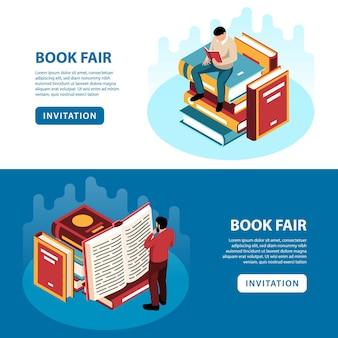 Isometrische spandoeken met mensen die boeken lezen op beurs geïsoleerd