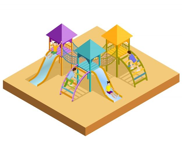 Isometrische speeltuin compositie