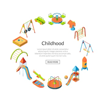 Isometrische speeltuin objecten banner