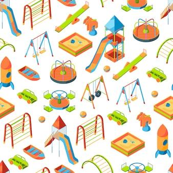 Isometrische speeltuin objecten of patroon illustratie