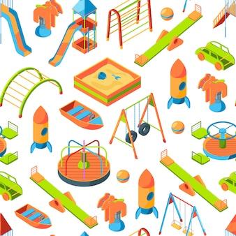 Isometrische speeltuin objecten of patroon