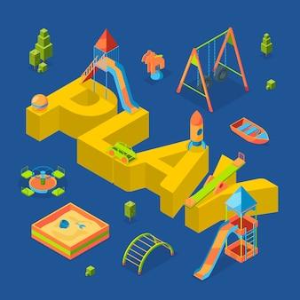 Isometrische speeltuin objecten rond woord spelen concept