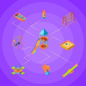 Isometrische speeltuin objecten