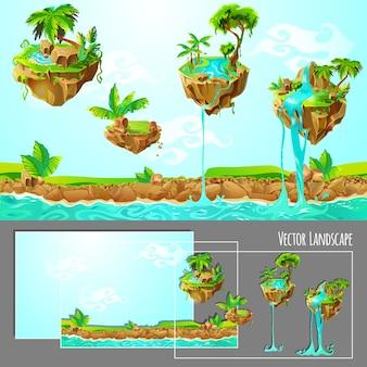 Isometrische spel tropische natuur landschap sjabloon