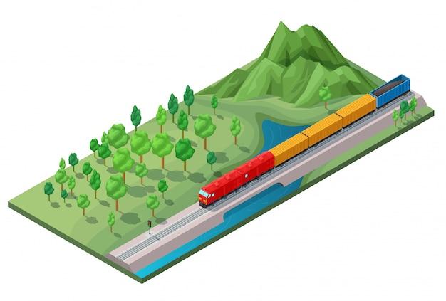 Isometrische spoorweg logistiek transport concept