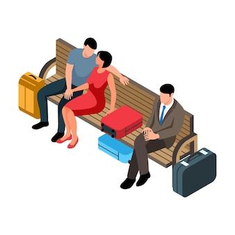 Isometrische spoorwegsamenstelling met menselijke karakters van wachtende passagiers die op bankillustratie zitten