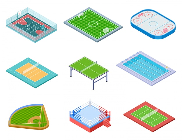 Isometrische sport veld set