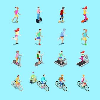 Isometrische sportieve mensen instellen. lopende mensen, fietser op de fiets, fitness van de vrouw, vrouw op skateboard, man op rolschaatsen. 3d-vlakke afbeelding