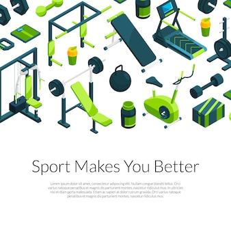Isometrische sportschool banner