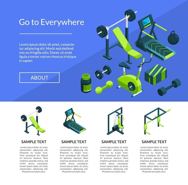 Isometrische sportschool paginasjabloon