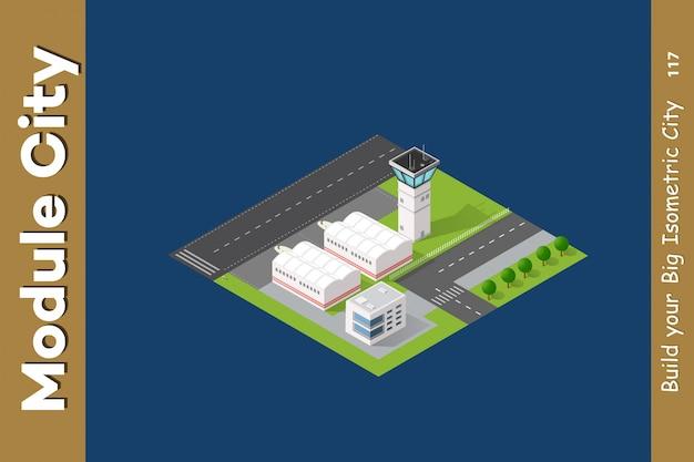 Isometrische stad 3d-luchthaven