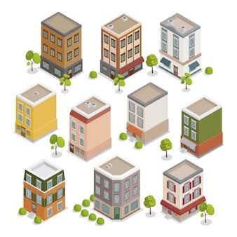 Isometrische stad gebouwen instellen