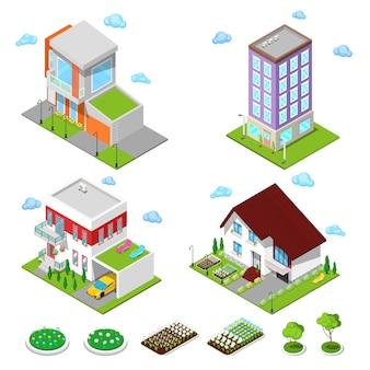 Isometrische stad gebouwen set. moderne huizen met bloemen en garage.