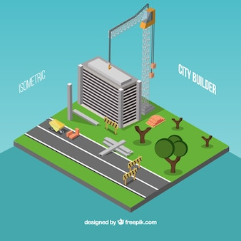 Isometrische stad in de bouw