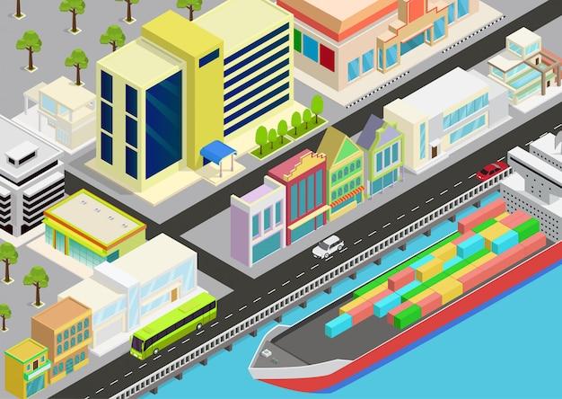 Isometrische stad met uitzicht op zee en vrachtschip