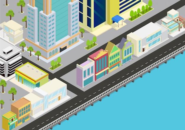 Isometrische stad met uitzicht op zee