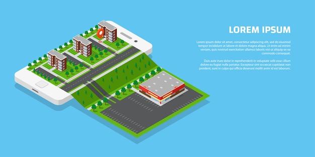 Isometrische stad met wegen en gebouwen op slimme telefoon. kaart op mobiele applicatie. 3d-vector illustratie. mobiel navigatieconcept.