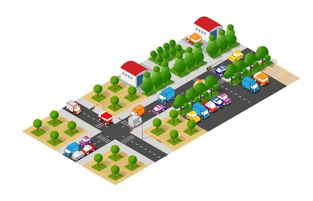 Isometrische stad met wegen met straten