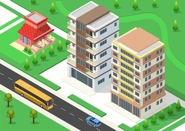 Isometrische stad met wolkenkrabberbouw, snelweg en bomen