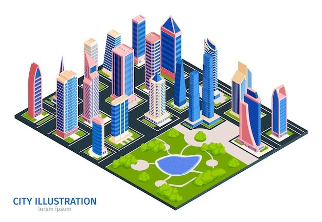 Isometrische stad met wolkenkrabbers en park