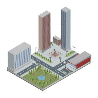 Isometrische stad met wolkenkrabbers, gebouwen, openbaar park en winkel. binnenstad en buitenwijken. illustratie, op wit.