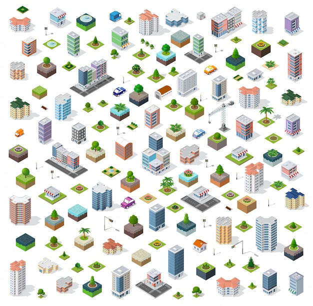 Isometrische stad straat instellen