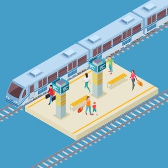 Isometrische stad treinstation locatie