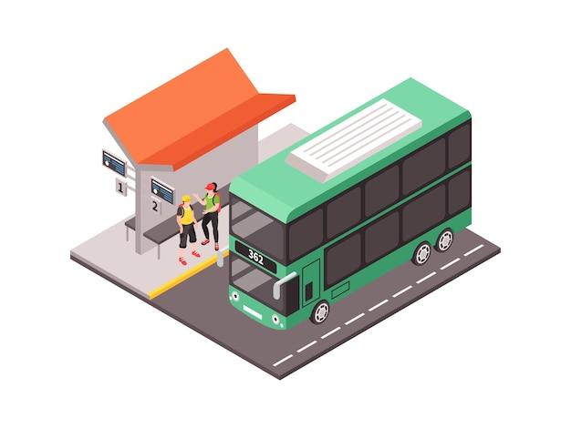 Isometrische stads openbaar vervoer illustratie met twee mensen en dubbeldekker bus 3d