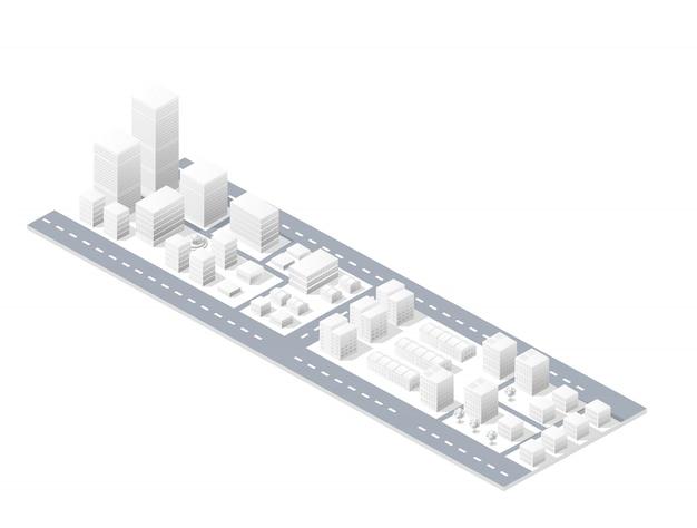 Isometrische stads stedelijke gebied van de illustratie met een