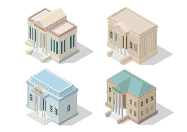 Isometrische stadsarchitectuur openbaar gebouw. museumhofbank en geïsoleerde schoolgebouw