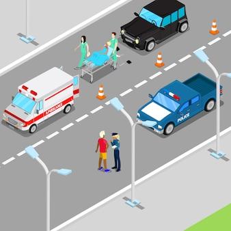 Isometrische stadsauto-ongeval met ambulance en politie-voertuig.