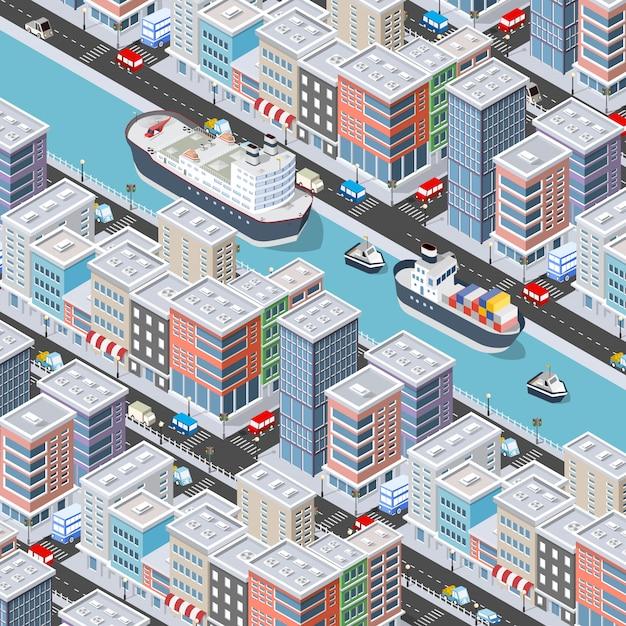 Isometrische stadsblok en oever van de rivier
