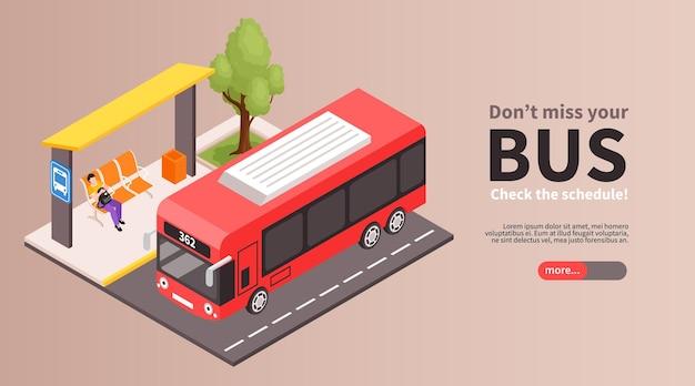 Isometrische stadsbus bestemmingspagina sjabloon