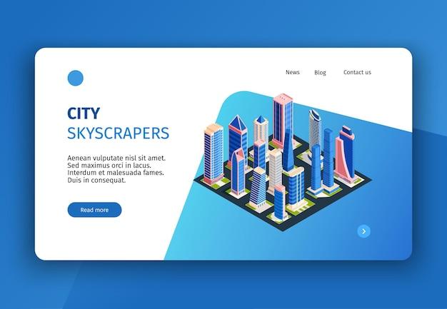 Isometrische stadsconceptbanner voor website-bestemmingspagina met klikbare koppelingsknoppen en afbeeldingen van hoge gebouwen