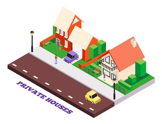 Isometrische stadsgebouwen illustratie met bewerkbare tekst en privé herenhuizen landschap met auto's en mensen