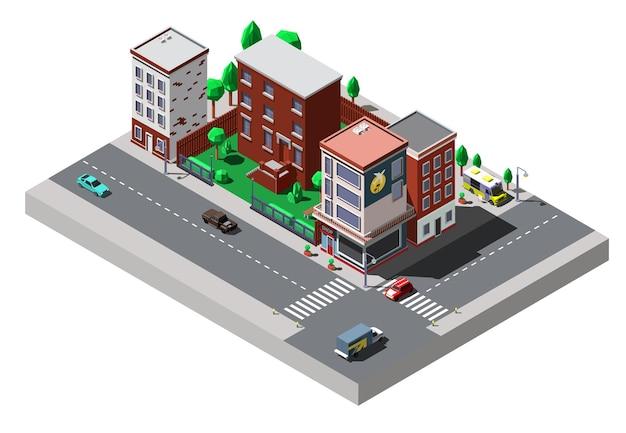 Isometrische stadsgebouwen met auto's en bomen op straat.