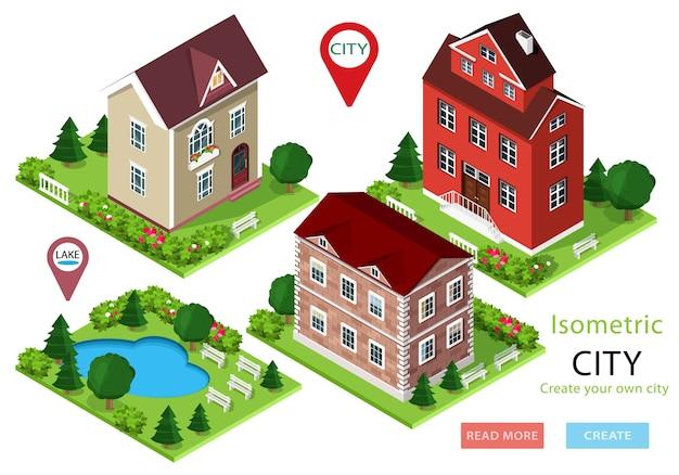 Isometrische stadshuizen met groene werven, bomen, banken en park met meer. set van schattige gedetailleerde gebouwen. illustratie.