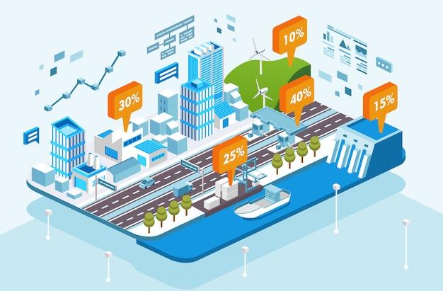 Isometrische stadsinfrastructuur groei illustratie